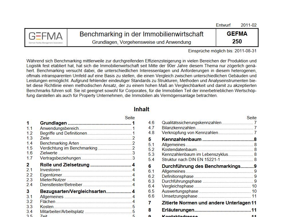 Richtlinie GEFMA 250 für Benchmarking wird neu aufgelegt