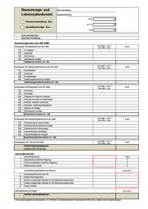 Formblatt Baunutzungs- und Lebenszykluskosten
