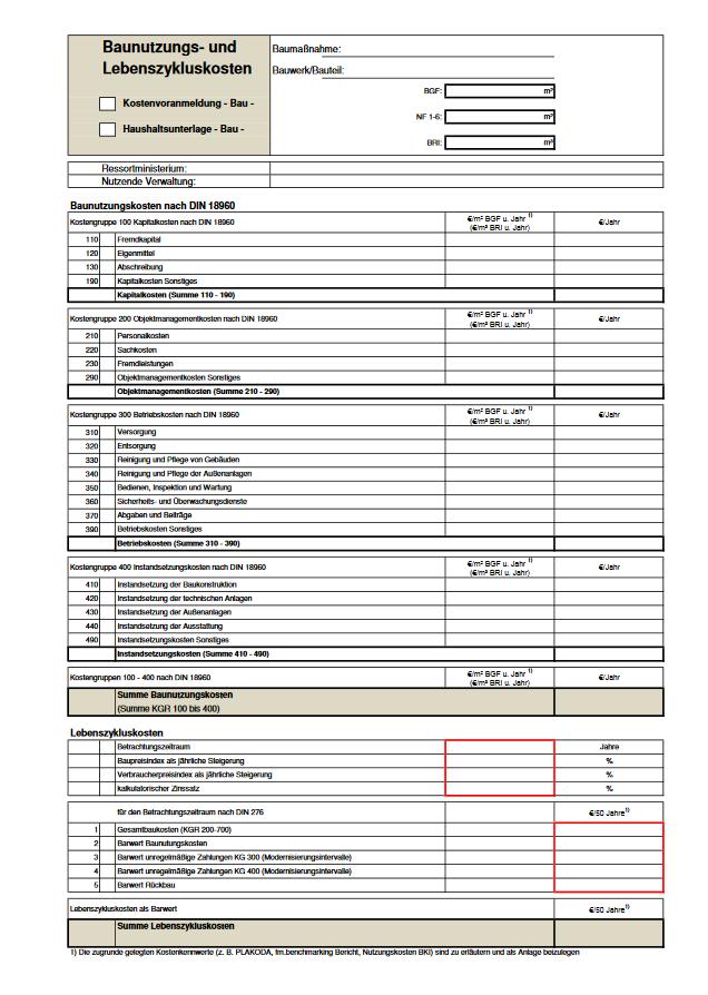 Kostenvoranmeldung der Baunutzungs- und Lebenszykluskosten in Rheinland-Pfalz